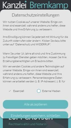 Vorschau der mobilen Webseite www.bremkamp.de, Bremkamp & Luft-Gautsch