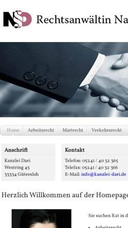 Vorschau der mobilen Webseite www.kanzlei-dari.de, Dari Nazira
