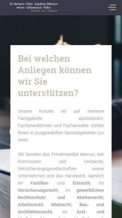 Vorschau der mobilen Webseite www.kanzlei-am-ostpark.de, Dr. Behrens, Daalmann, Wolff, Peitz, Kapitány & Mauntel