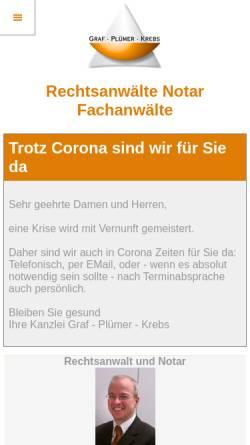 Vorschau der mobilen Webseite www.graf-pluemer.de, Graf, Plümer, Krebs