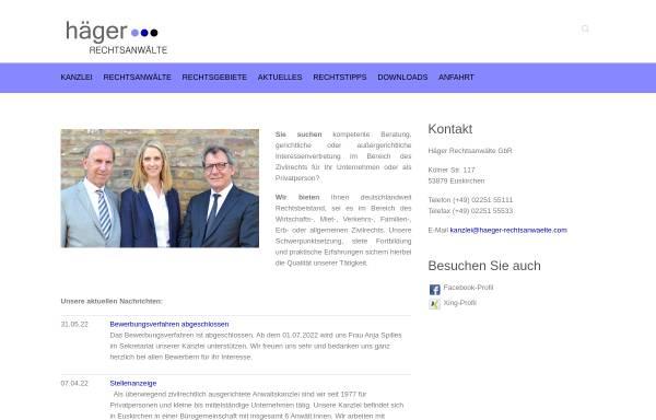 Vorschau von www.haeger-rechtsanwaelte.com, Häger Rechtsanwälte
