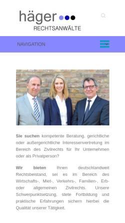 Vorschau der mobilen Webseite www.haeger-rechtsanwaelte.com, Häger Rechtsanwälte