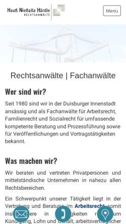 Vorschau der mobilen Webseite www.anwaelte-du.de, Hauß & Nießalla