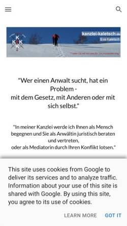 Vorschau der mobilen Webseite www.kanzlei-kaletsch.de, Kaletsch Eva