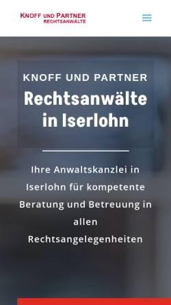 Vorschau der mobilen Webseite knoffundpartner.de, Knoff & Partner