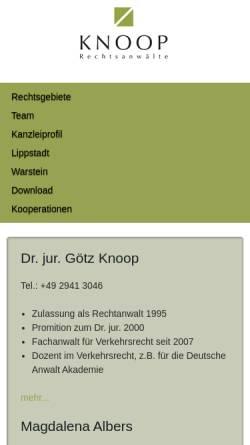 Vorschau der mobilen Webseite www.knoop.de, Knoop & Knoop