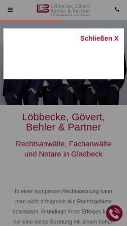 Vorschau der mobilen Webseite www.loebbecke-buese.de, Löbbecke & Büse