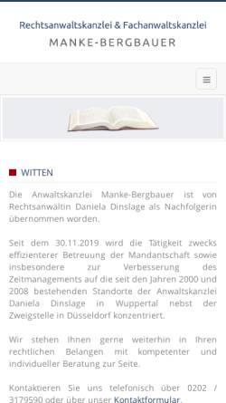 Vorschau der mobilen Webseite www.manke-bergbauer.de, Manke-Bergbauer Irmtraud