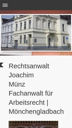 Vorschau der mobilen Webseite www.kanzlei-muenz.de, Münz, Joachim