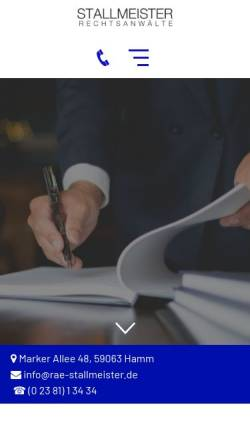 Vorschau der mobilen Webseite www.rae-stallmeister.de, Stallmeister Rechtsanwälte