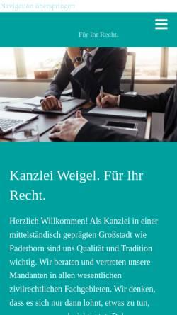 Vorschau der mobilen Webseite www.kanzlei-weigel.de, Weigel & Partner