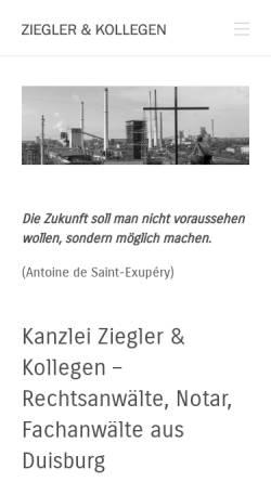 Vorschau der mobilen Webseite www.zieglerundkollegen.de, Ziegler & Kollegen