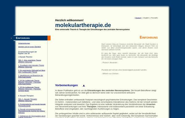 Vorschau von www.molekulartherapie.de, Theorie und Therapie klinischer Depressionen