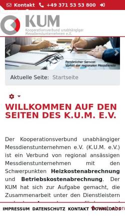Vorschau der mobilen Webseite www.kum-heizkostenabrechnung.de, Kooperationsverbund unabhängiger Messdienste e.V.