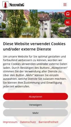 Vorschau der mobilen Webseite www.neuenbuerg.de, Neuenbürg