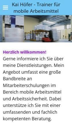 Vorschau der mobilen Webseite www.staplerfahrer-schulung.de, Kai Höfer