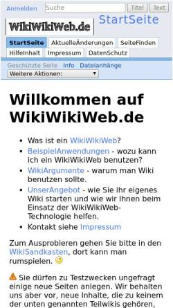 Vorschau der mobilen Webseite wikiwikiweb.de, Wikiwikiweb.de