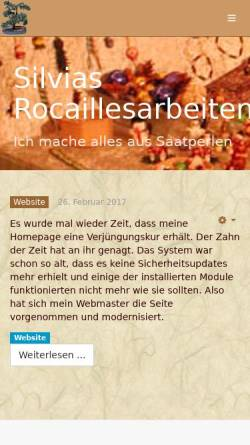 Vorschau der mobilen Webseite www.rocailles.info, Silvias Rocailles Arbeiten