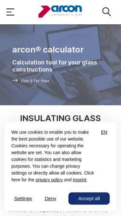 Vorschau der mobilen Webseite www.arcon-glas.de, Arcon Firmengruppe