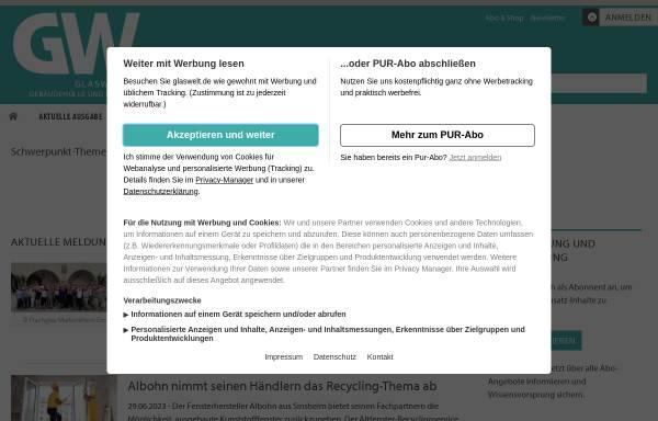 Vorschau von www.glaswelt-net.de, glaswelt.net