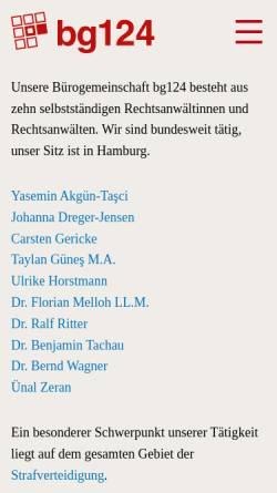 Vorschau der mobilen Webseite www.bg124.de, Bürogemeinschaft Schulterblatt 124