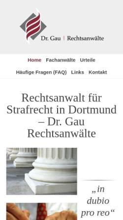 Vorschau der mobilen Webseite drgau.de, Rechtsanwalt Dr. Gau