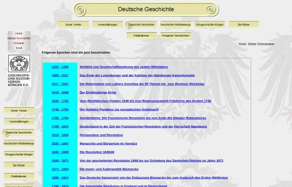 Vorschau von geschichtsverein-koengen.de, Deutsche Geschichte, Epochen
