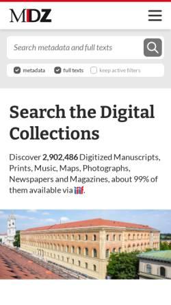 Vorschau der mobilen Webseite www.digitale-sammlungen.de, Digitale Bibliothek - Münchener Digitalisierungszentrum