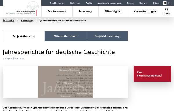 Vorschau von www.bbaw.de, Jahresberichte für deutsche Geschichte
