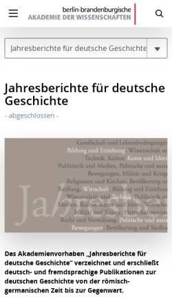 Vorschau der mobilen Webseite www.bbaw.de, Jahresberichte für deutsche Geschichte