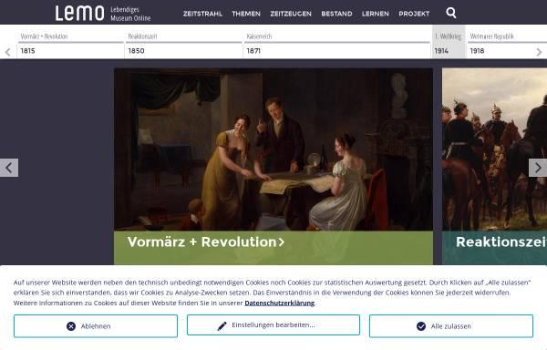 Vorschau von www.dhm.de, Lebendiges Museum Online: Deutsche Geschichte (LeMO)