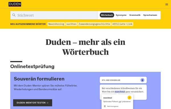 Vorschau von www.duden.de, Duden