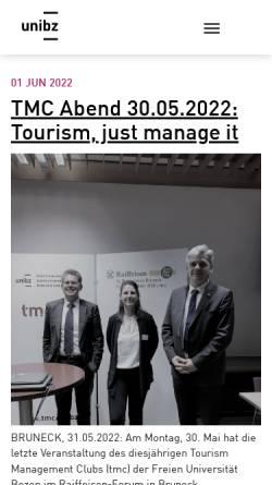 Vorschau der mobilen Webseite tmc.suedtirol.org, Tourismus Management Club (TMC)