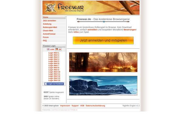 Vorschau von www.freewar.de, Freewar - The Fantasy Beyond