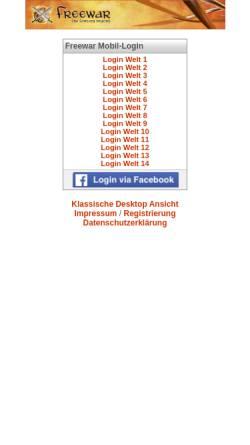 Vorschau der mobilen Webseite www.freewar.de, Freewar - The Fantasy Beyond