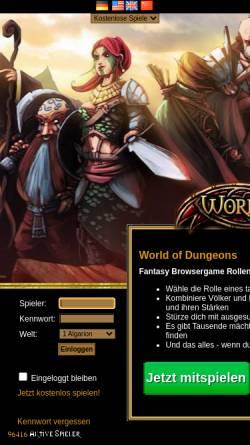 Vorschau der mobilen Webseite www.world-of-dungeons.de, World of Dungeons