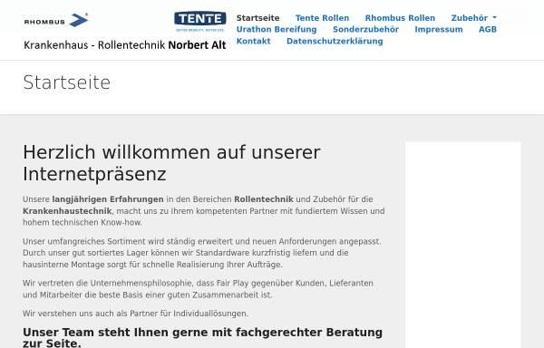 Vorschau von www.alt-krankenhaus-rollentechnik.de, Alt Krankenhaus-Rollentechnik, Inh. Norbert Alt