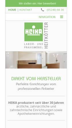 Vorschau der mobilen Webseite www.heika-online.de, Heika Labor- und Praxismöbel GbR Heitkötter