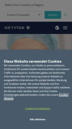 Vorschau der mobilen Webseite www.maquet.com, Maquet GmbH & Co. KG