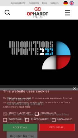 Vorschau der mobilen Webseite www.ophardt.com, Ophardt Hygiene-Technik GmbH & Co. KG