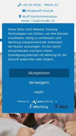 Vorschau der mobilen Webseite www.wulff-med.com, Wulff Med Tec GmbH
