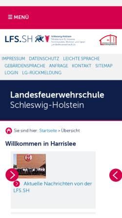 Vorschau der mobilen Webseite www.lfs-sh.de, Landesfeuerwehrschule Schleswig-Holstein