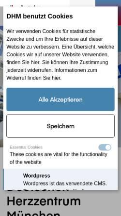 Vorschau der mobilen Webseite www.dhm.mhn.de, Deutsches Herzzentrum München