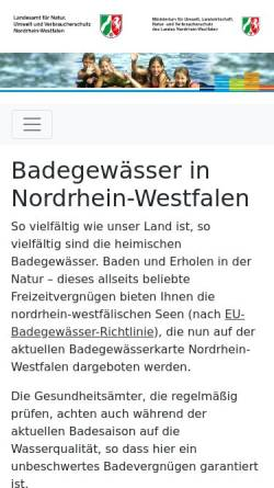 Vorschau der mobilen Webseite www.badegewaesser.nrw.de, Badegewässer in NRW
