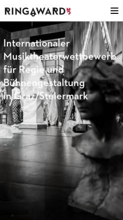 Vorschau der mobilen Webseite www.ringaward.com, Ring.award.03 - Internationaler Wettbewerb für Regie und Bühnenbild