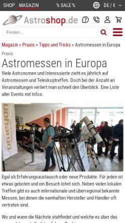 Vorschau der mobilen Webseite www.astro-messe.de, AME Astronomie-Messe