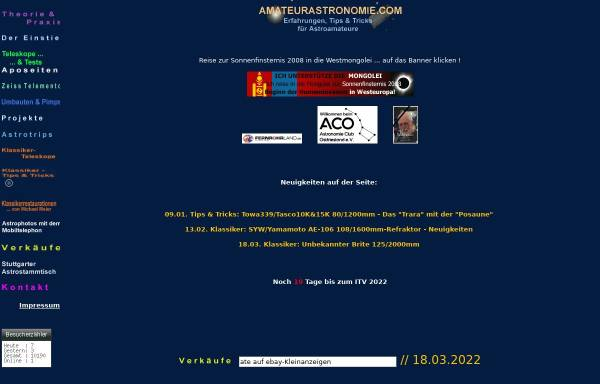 Vorschau von www.amateurastronomie.com, Astronomie [Hase-Bergen, Hannes]
