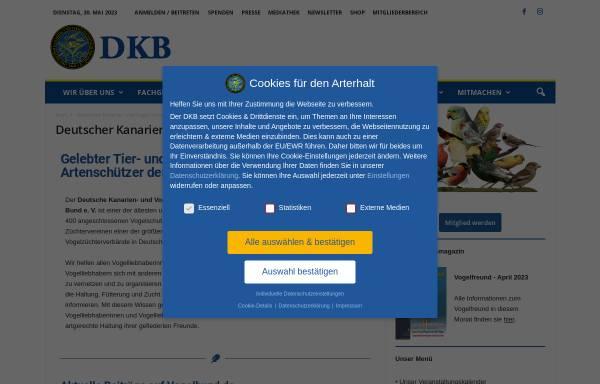 Vorschau von www.dkb-online.de, Deutscher Kanarien- und Vogelzüchter-Bund e.V.