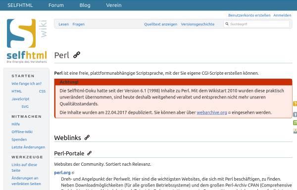 Vorschau von de.selfhtml.org, Selfhtml / Perl