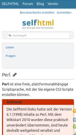 Vorschau der mobilen Webseite de.selfhtml.org, Selfhtml / Perl